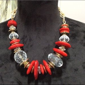 New Beautiful Red & Gold Beaded Cluster Necklace